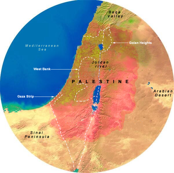 Map Showing 175 Mile Radius from Jerusalem