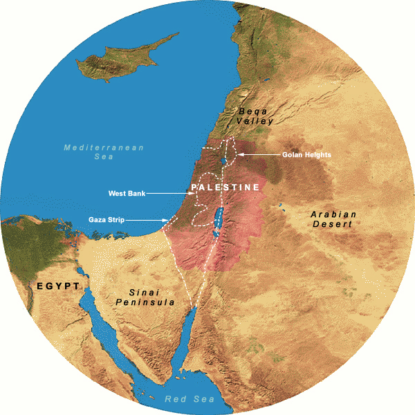 Map Showing 350 Mile Radius from Jerusalem