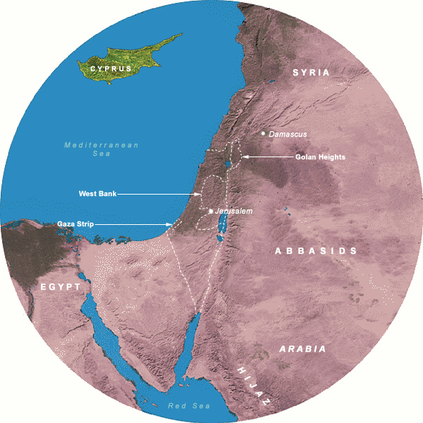 Map Showing Abbasids (749-877 CE), 350 Mile Radius from Jerusalem