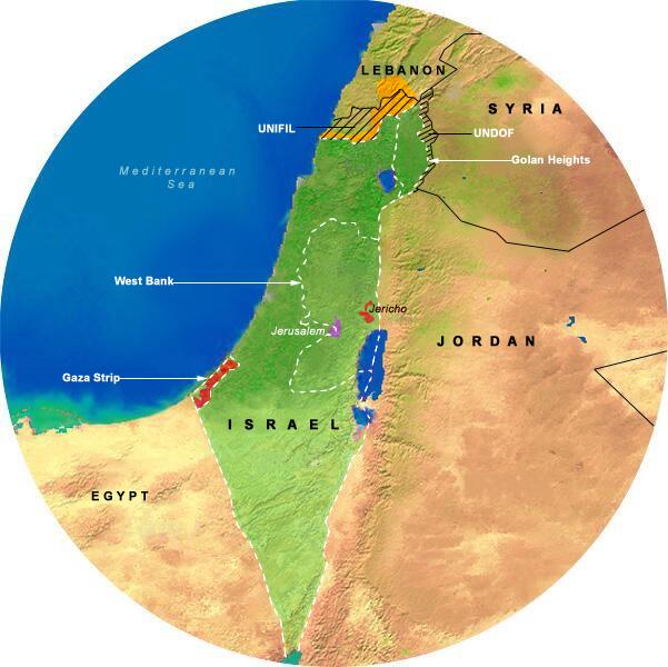 Map Showing Cairo Agreement (1994-1995), 175 Mile Radius from Jerusalem