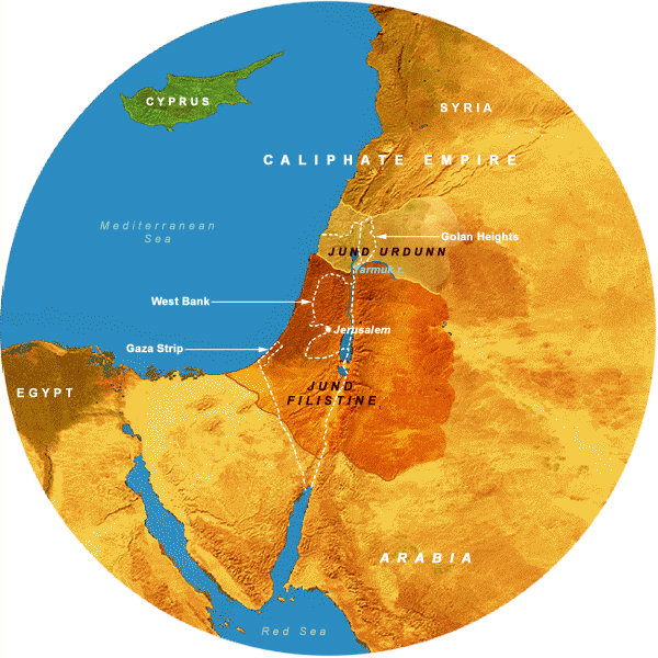 Map Showing Caliphates (636-661 CE), 350 Mile Radius from Jerusalem