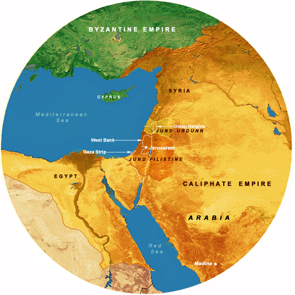 Map Showing Caliphates (636-661 CE), 700 Mile Radius from Jerusalem