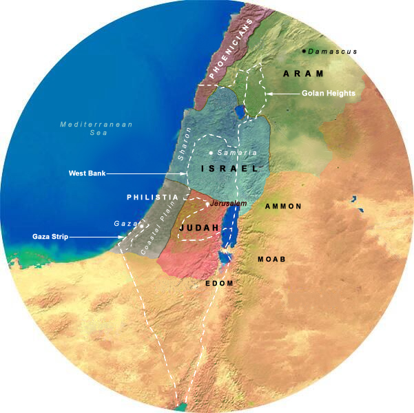 Map Showing Divided Kingdom (923-732 BCE), 175 Mile Radius from Jerusalem