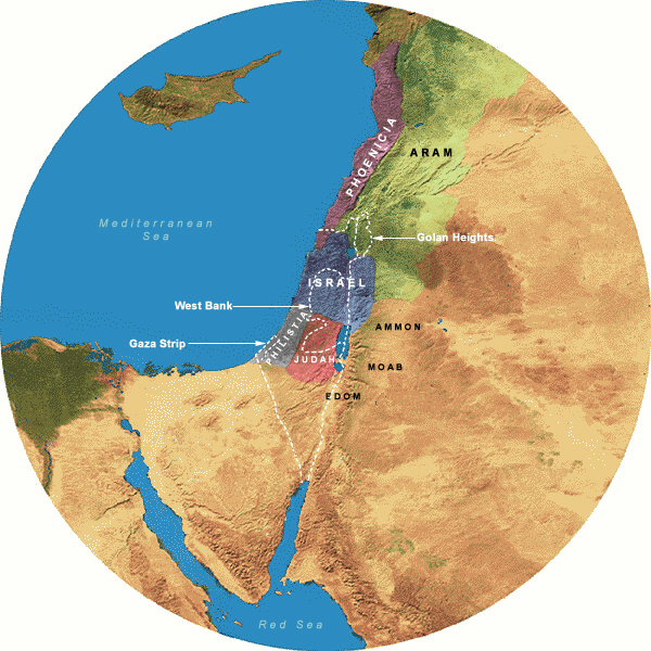 Map Showing Divided Kingdom (923-732 BCE), 350 Mile Radius from Jerusalem