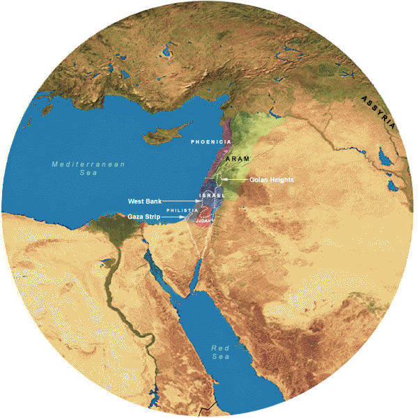Map Showing Divided Kingdom (923-732 BCE), 700 Mile Radius from Jerusalem