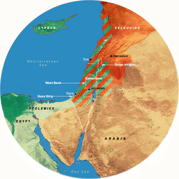 Map Showing Greek Rule (334 - 140 BCE), 350 Mile Radius from Jerusalem
