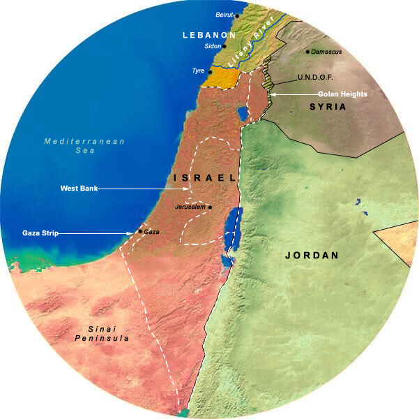 Map Showing Operation Litany (1978-1978), 175 Mile Radius from Jerusalem