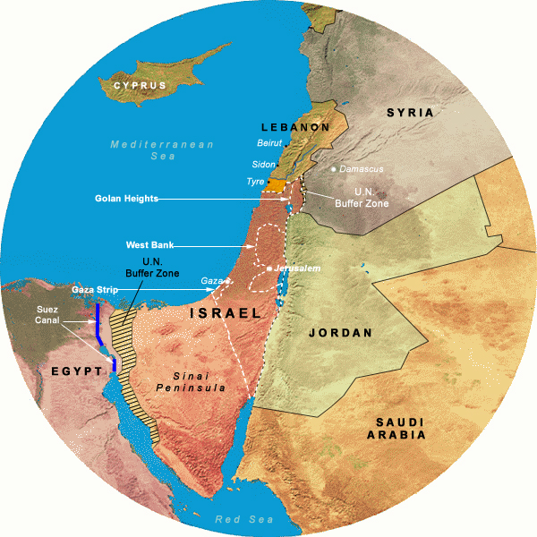 Map Showing Operation Litany (1978-1978), 350 Mile Radius from Jerusalem