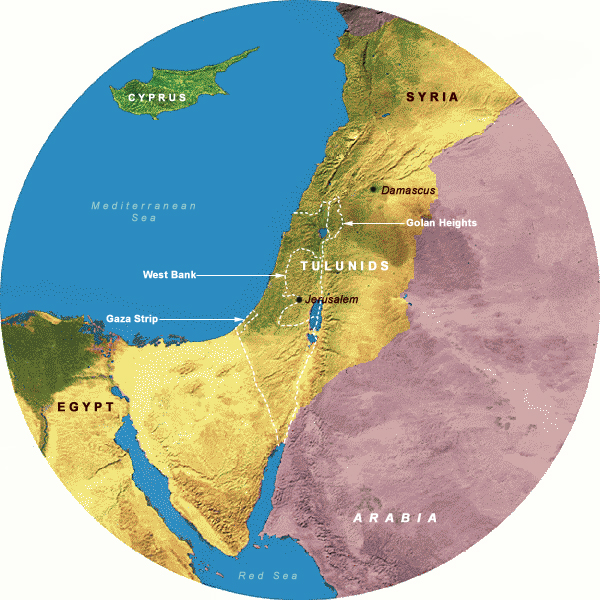 Map Showing Tulunids& Abbasids II (877-935 CE), 350 Mile Radius from Jerusalem