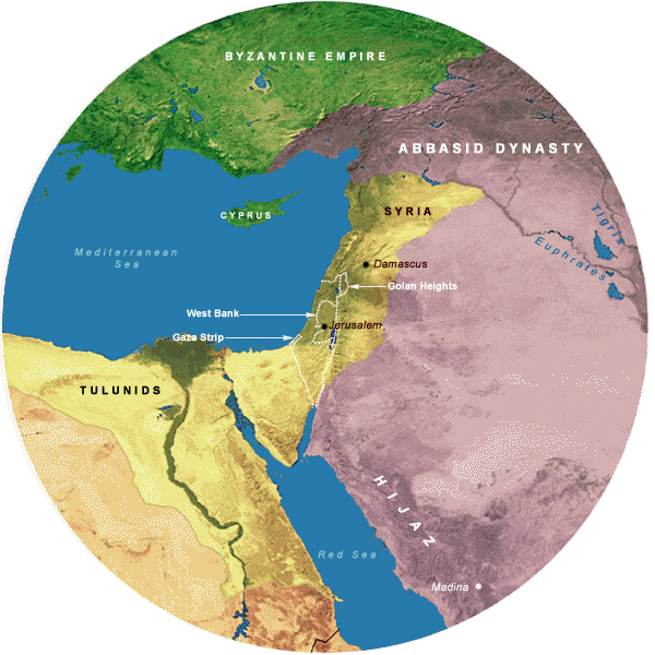 Map Showing Tulunids& Abbasids II (877-935 CE), 700 Mile Radius from Jerusalem