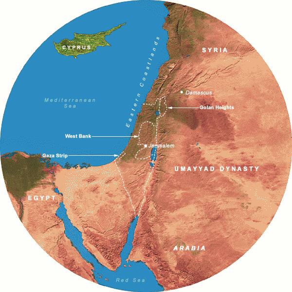 Map Showing Umayyads(661-749 CE), 350 Mile Radius from Jerusalem