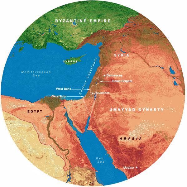Map Showing Umayyads(661-749 CE), 700 Mile Radius from Jerusalem