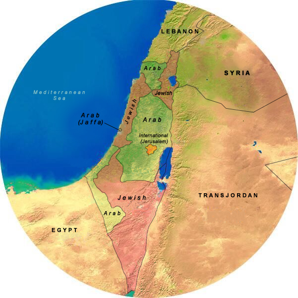 Map Showing UN Partition & The First Arab / Israeli War (1947 - 1948), 175 Mile Radius from Jerusalem