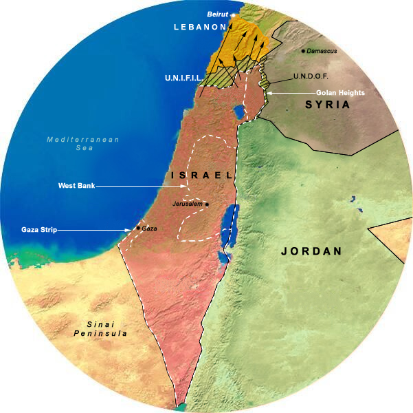 Map Showing Israel & The PLO (1985-1994),, 175 Mile Radius from Jerusalem